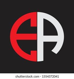 EA Initial Logo design Monogram Isolated on black background