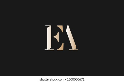 EA Letter Logo Design with Creative Modern Trendy Typography