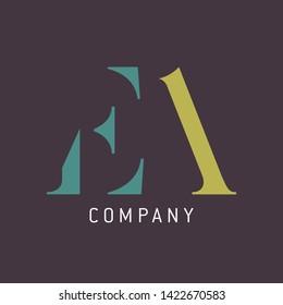 EA logo design. Monogram logo. Letters E and A.  Elegant logo.