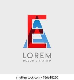 """EA logo letters with """"blue and red"""" gradation"""