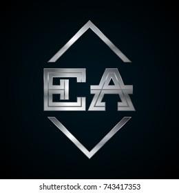 EA Monogram, Metal Logo, Silver Logo