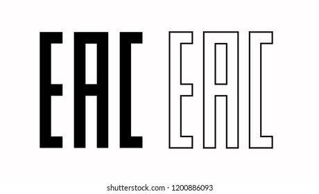 EAC EurAsian Conformity mark. Silhouette and line icon