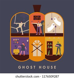 Each room is a haunted house with a concept halloween ghost. flat design style vector graphic illustration