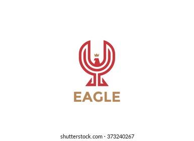 Eagle abstract Logo design vector template linear style. Luxury Corporate Falcon Phoenix Hawk Logotype. Soaring Bird concept icon.