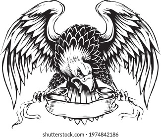 eagle in action drawing vector design