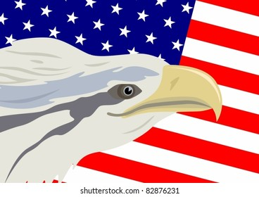 Eagle against the Stars and Stripes USA.