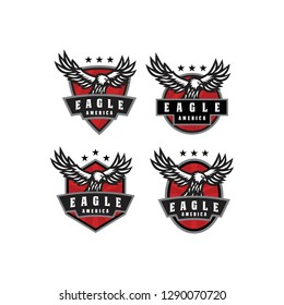 eagle america animal mascot emblem badge logo icon vector template set pack bundle collection