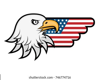 Eagle with America Flag Wings logo vector