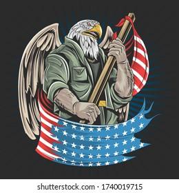 amérique de l'aigle Vecteur d'oeuvres d'art pour soldats de l'armée américaine pour la journée des anciens combattants, la journée de l'indépendance ou la journée commémorative