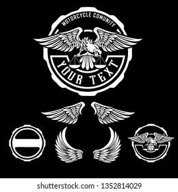 eagle auto motorcycle comunity logo concept-emblem-badge