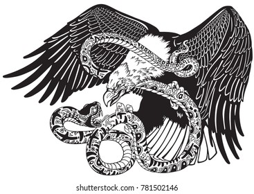 eagle battling a snake serpent. Black and white tattoo style vector illustration