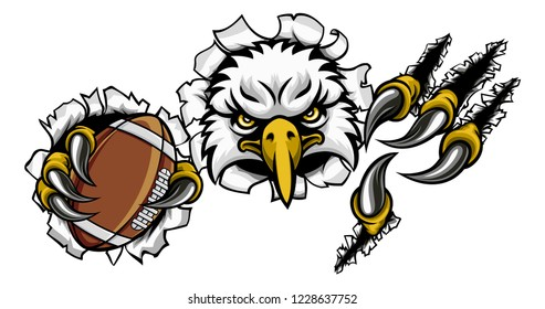An eagle bird American football sports mascot cartoon character ripping through the background holding a ball