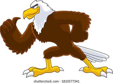 Eagle Bird Cartoon Character Vector Illustration Isolated On White Background