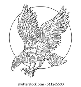 Eagle bird coloring book for adults vector illustration. Anti-stress coloring for adult. Tattoo stencil. Zentangle style. Black and white lines. Lace pattern
