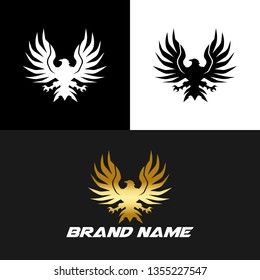 Eagle Bird, Elegant Gold Logo