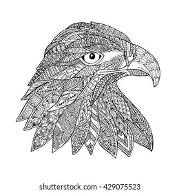 Eagle bird head zentangle stylized doodle vector. Zen ethnic ornament drawing. Suits as tattoo or logo template, decorative ornate print, design or adult antistress coloring book/ page sketch.