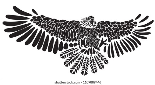 Eagle bird icon. Laser cut vector heraldic emblem of powerful wild falcon with stretching clutches. Stencil of eagle hawk predator for sport team mascot shield, guard service, hunting club label.