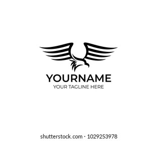 Eagle bird logo template. Bird of prey flutters and waves its wings vector design. Wild nature illustration