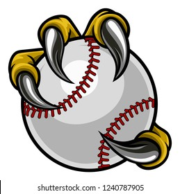 Eagle, bird or monster claw or talons holding a baseball ball. Sports graphic.