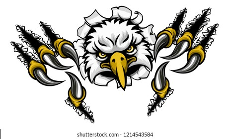 An eagle bird sports mascot cartoon character ripping through the background with its claws ot talons