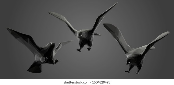 Eagle in Black and White. Dark Set of Eagles. Low Poly Vector Greyscale Silhouette 3D Rendering