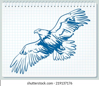Eagle in blue and white color