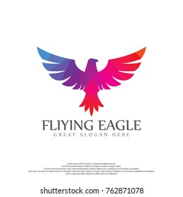 Eagle Colorful Polygon Logo Template. Flying Logo Illustation.