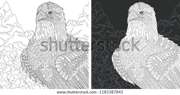Eagle Coloring Page Coloring Book Colouring Stock Vector ...