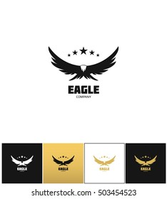 Eagle company vector icon. Eagle company program on black, white and gold background
