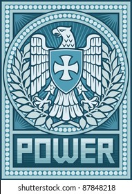Eagle and the Cross coat of arms - Symbol of Power poster