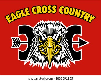 eagle cross country team design with mascot head for school, college or league