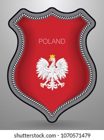 Eagle with a Crown. The National Emblem of Poland. Vector Badge and Icon. Horizontal Orientation Version