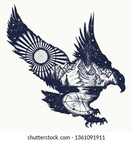Eagle double exposure tattoo and t-shirt design. Flying hawk, mountains and compass. Symbol of the wild nature, travel, outdoor and freedom