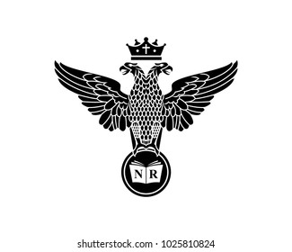 Eagle with Double Head and Crown on the Head Holding Inital Name of Book on the Circle