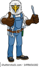 An eagle electrician, handyman or mechanic holding a screwdriver