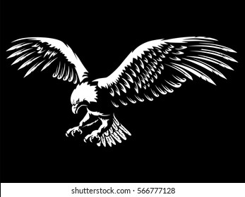 Eagle emblem isolated on black vector illustration. American symbol of freedom