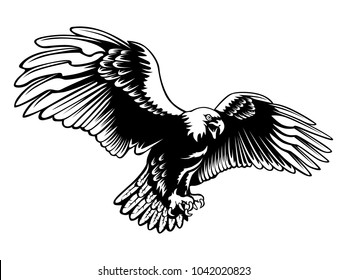 Eagle emblem isolated on white illustration. American eagle. Bird symbol of freedom and independence. Retro color logo of falcon.