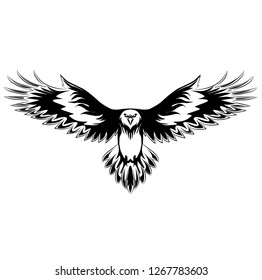 Eagle emblem isolated on white. American symbol of freedom. Retro color logo of falcon. Can be used for printing on T-shirts, flyers, etc. Vector illustration.