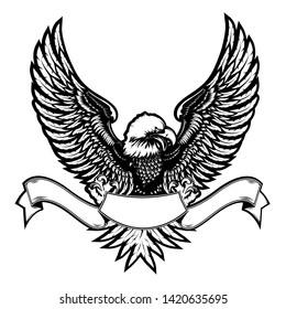 Eagle emblem isolated on white vector illustration. World symbol of freedom and independence. Retro color logo of falcon. American flag eagle emblem. 4 july theme background.