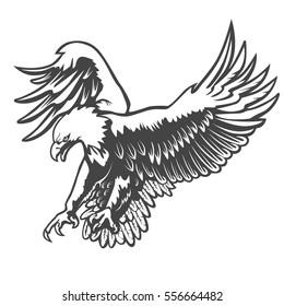 Eagle emblem isolated on white vector illustration. American symbol of liberty.