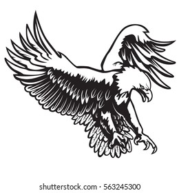 Eagle emblem isolated on white vector illustration. American symbol of freedom.