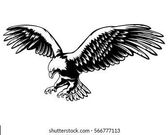 Eagle emblem isolated on white vector illustration. American symbol of freedom