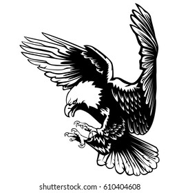 Eagle emblem isolated on white vector illustration. American symbol of freedom. Retro color logo of falcon.