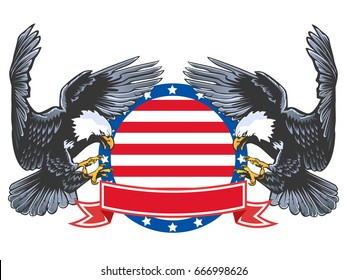 Eagle emblem isolated on white vector illustration. American symbol of freedom and independence. Retro color logo of falcon.