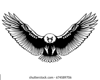 official photos 24431 e0012 Eagle emblem isolated on white vector illustration. American symbol of  freedom and independence. Retro