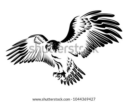 Eagle Emblem Isolated On White Illustration Stock Vector Royalty