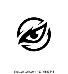 eagle eye bird hawk animal black circle vector logo design template