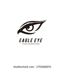 Eagle eye logo design forming eyes that are staring sharply vision