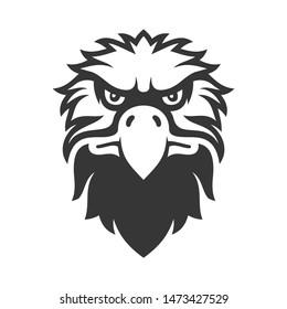 Eagle Face Icon. Bird Logo on White Background. Vector