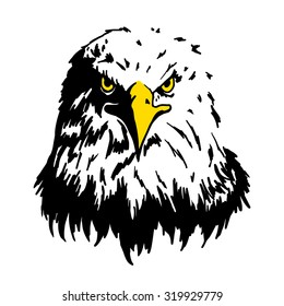 eagle face in white background